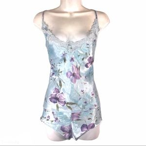Vintage Two Piece Floral Satin Cami and Shorts